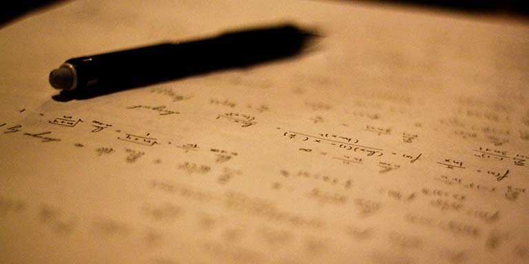 Writing equations on paper